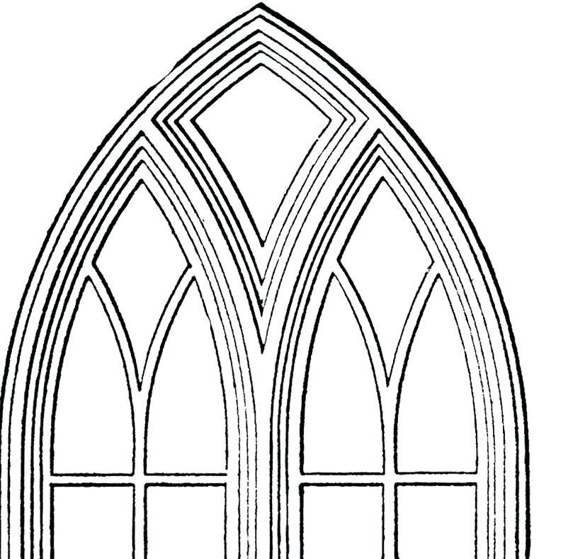 809x789 Windows Clipart Vector Art Black Outline Of Casement Window