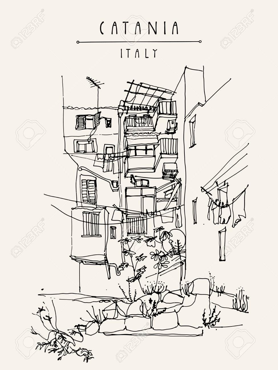 975x1300 Catania, Sicily, Italy. Illustration Of A Backyard With Windows