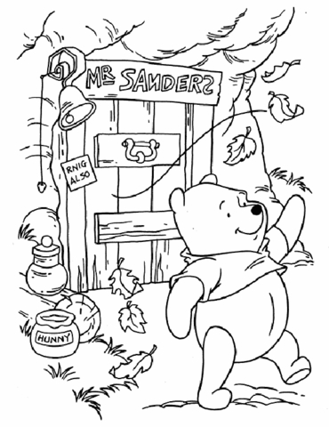 370x480 Pooh Is Walking Near His House. It's Windy. Coloring Page Free