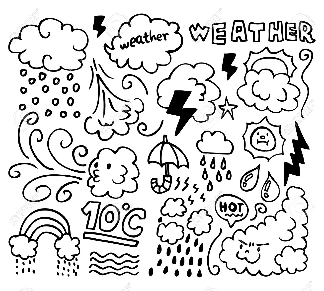 1300x1168 Set Of Grunge Weather Hand Drawing Icons Royalty Free Cliparts