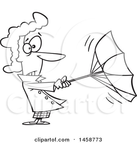 450x470 Clipart Of A Cartoon Outline Woman Trying To Hold Onto An Umbrella