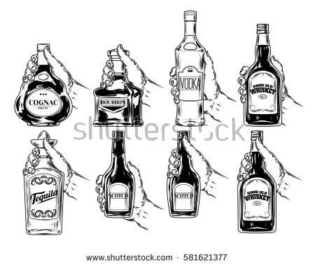450x380 Drawn Liquor Line Art