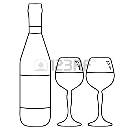450x450 Vector Illustration Of Wine Bottle And Two Glasses With Wine