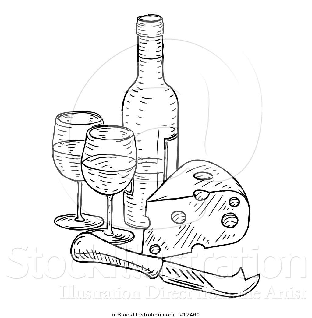 1024x1044 Vector Illustration Of A Sketched Cheese Wedge With A Wine Bottle