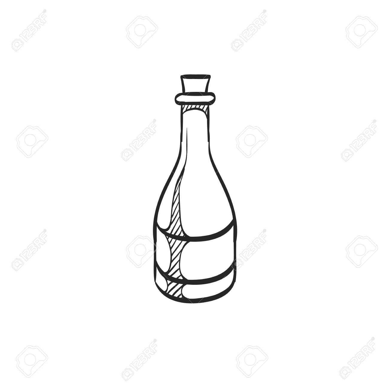 1300x1300 Wine Bottle Icon In Doodle Sketch Lines. Drink Romantic Couple