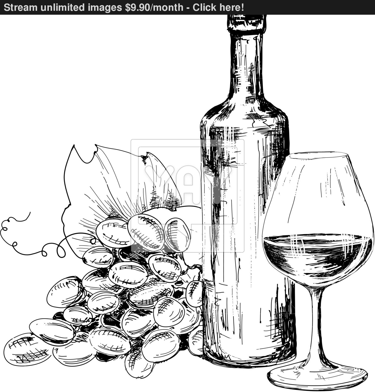 1527x1600 Bottle Of Wine, Glass And Grapes Vector