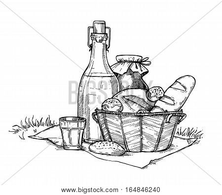 450x395 Farm Food Set Freehand Pencil Vector Amp Photo Bigstock