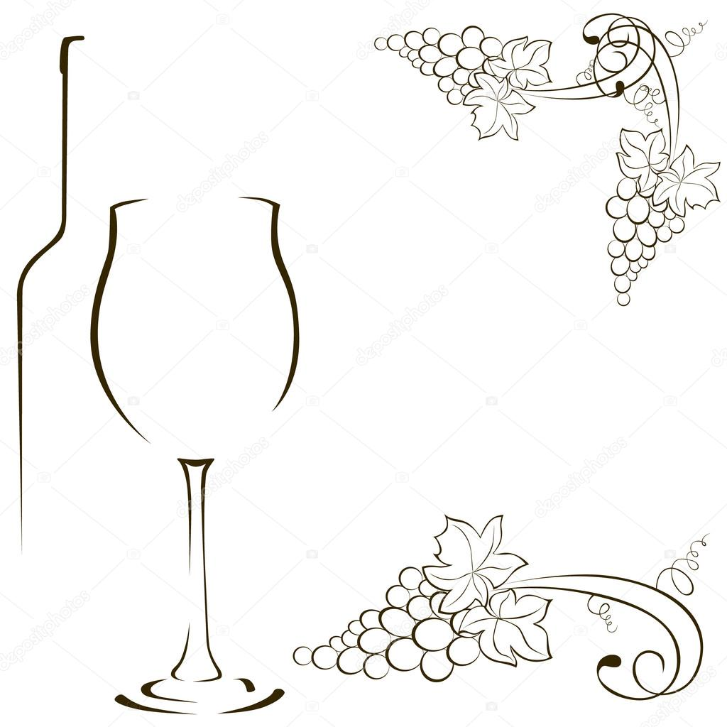 1024x1024 Silhouettes Of Glasses And Bottles Of Wine. Bunch Of Grapes. Gra