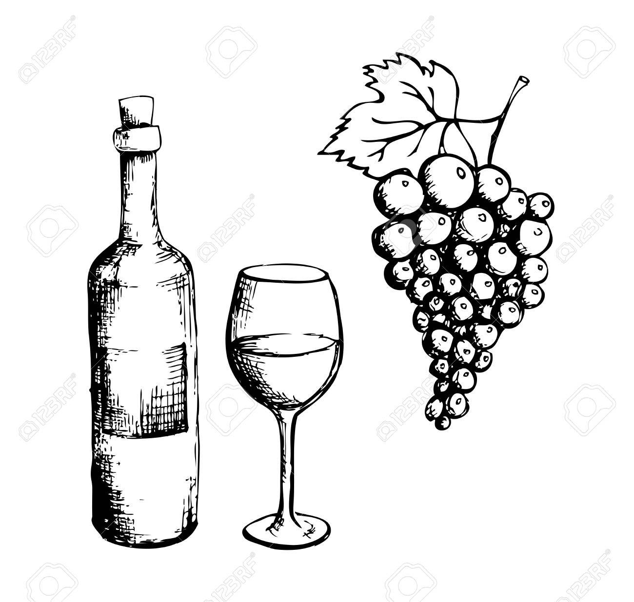 1300x1235 Sketch Of Wine Bottle, Glass And Grapes Royalty Free Cliparts
