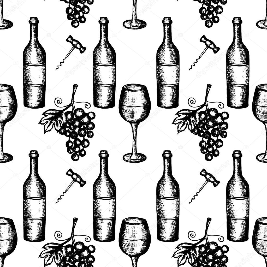 1023x1023 Wine Set Seamless Pattern Stock Vector Wirtu20
