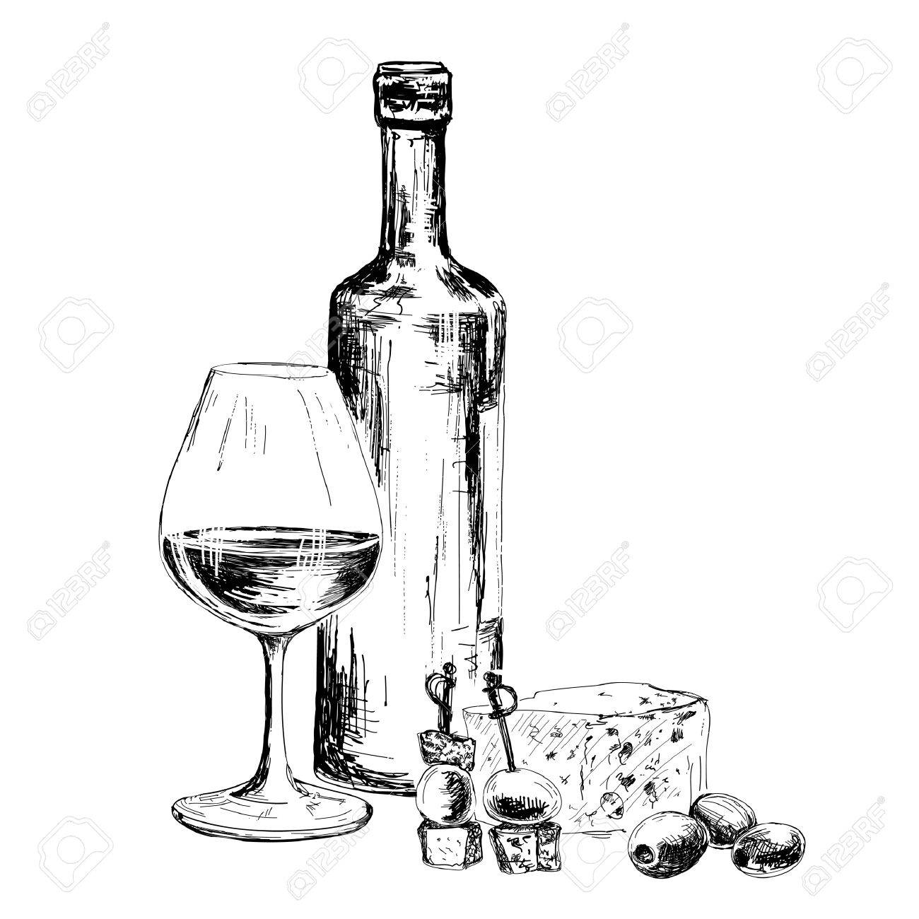 1300x1300 Bottle Of Wine And Blue Cheese. Hand Drawn Illustration Royalty