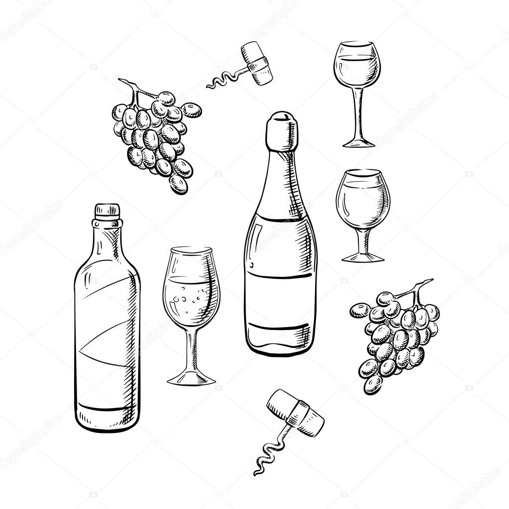 1024x1024 Bottles Of Wine, Glasses And Grape Sketches Stock Vector