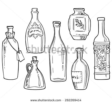 450x414 Drawn Bottle Line Drawing