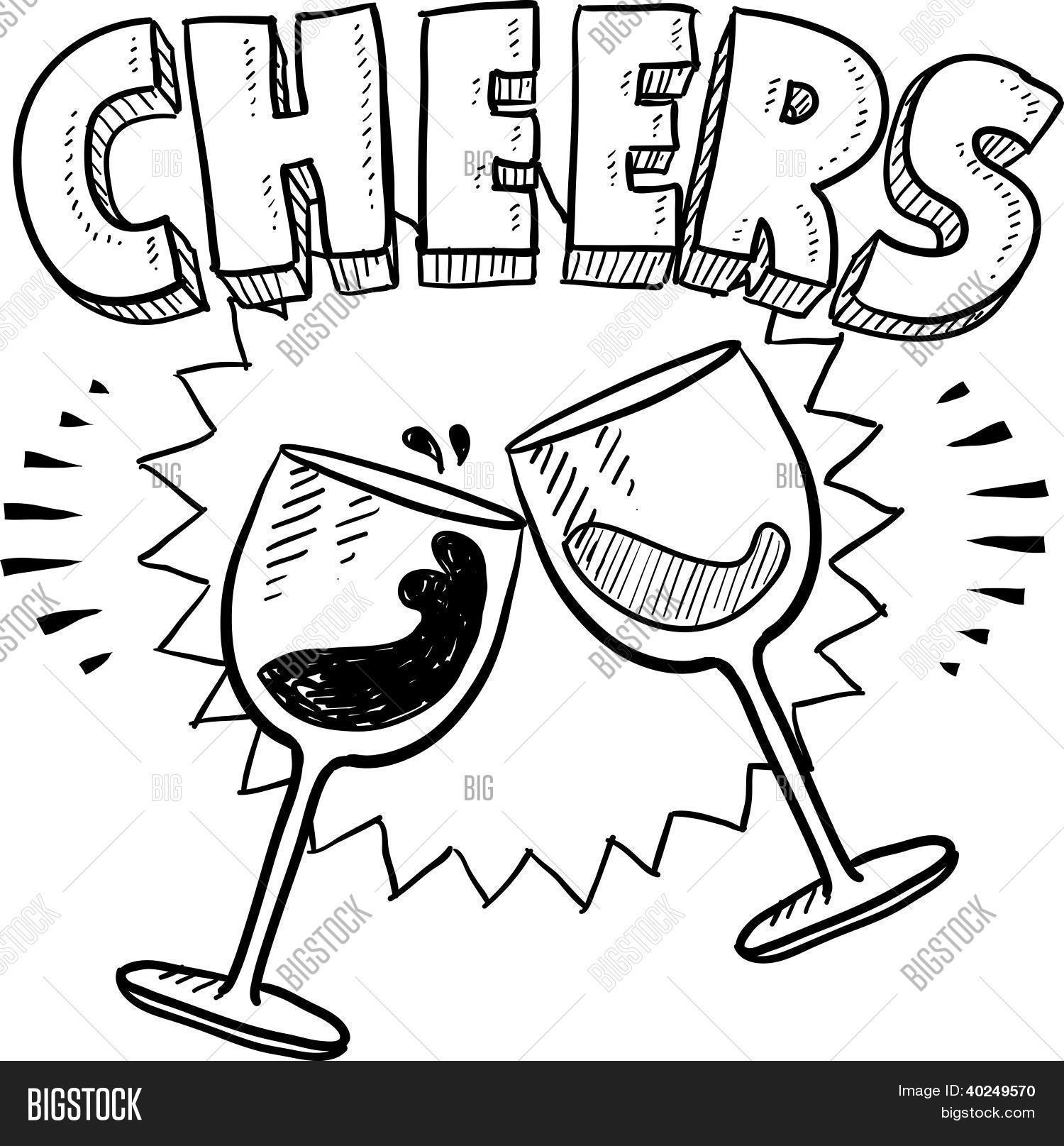 1500x1615 Cheers Wine Glass Sketch Vector Amp Photo Bigstock