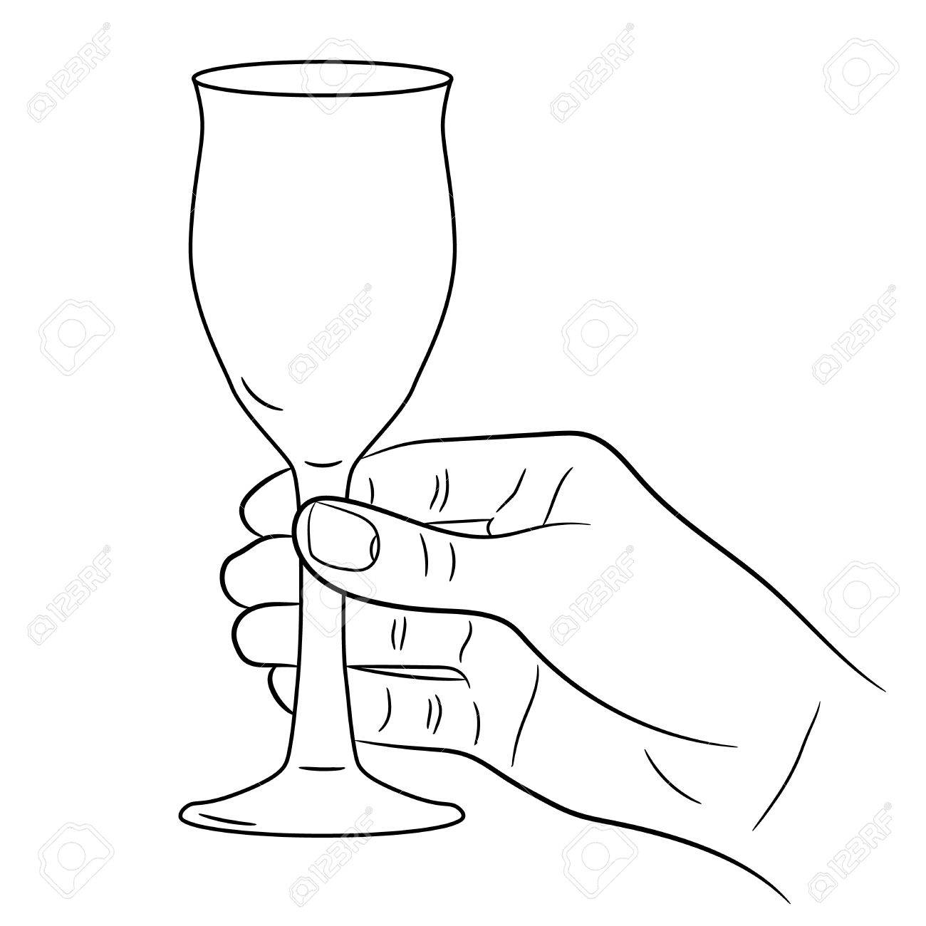 1300x1300 Hand Holding A Wine Glass On White Background Of Monochrome Vector