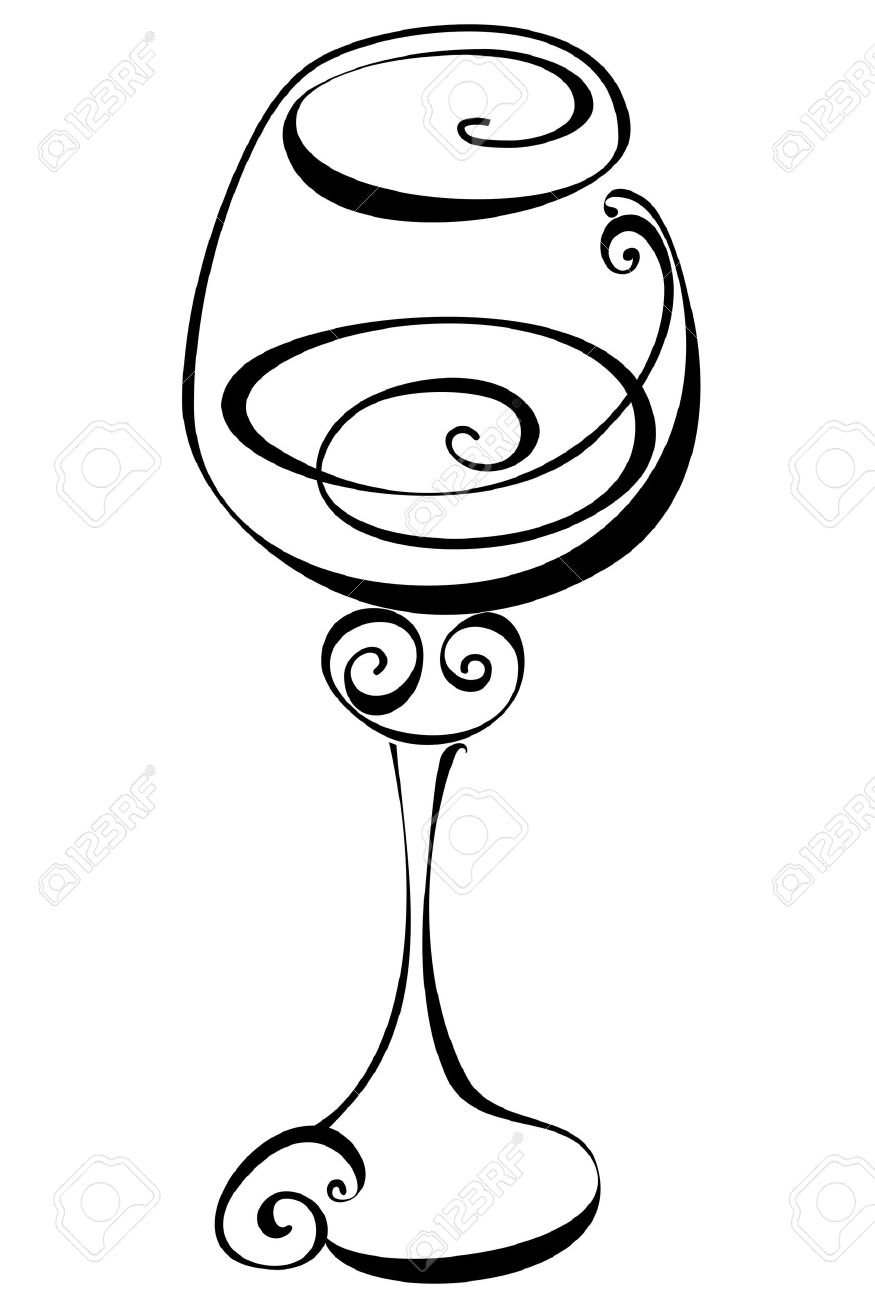 875x1300 Stylized Black And White Wine Glass Royalty Free Cliparts, Vectors