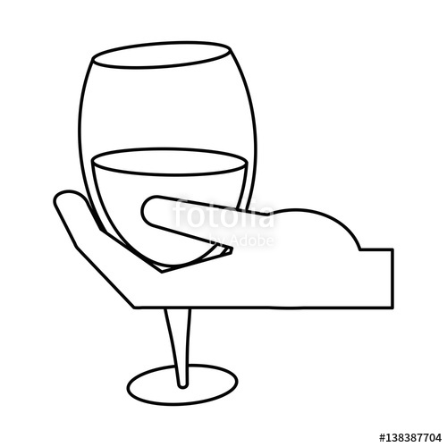 500x500 Hand Holding Glass Cup Wine Thin Line Vector Illustration Eps 10