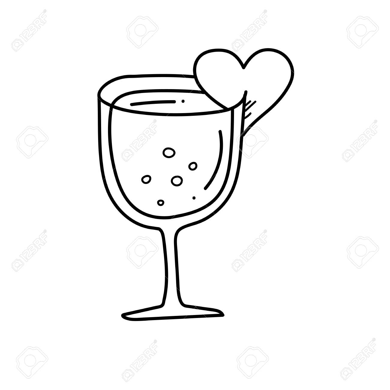 1300x1300 Freehand Drawing Wine Glass Illustration Stock Photo, Picture