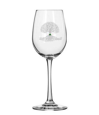 346x400 Tree Of Life White Wine Glass Healy Glass Artistry