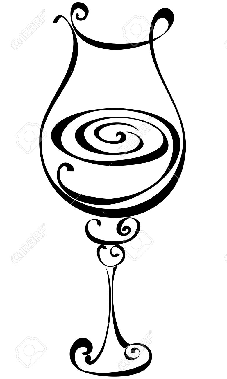781x1300 Stylized Black And White Wine Glass Royalty Free Cliparts, Vectors