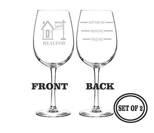 500x432 Realtor Etched Wine Glasses Set Of 2 Engraved Wine Glasses Gift