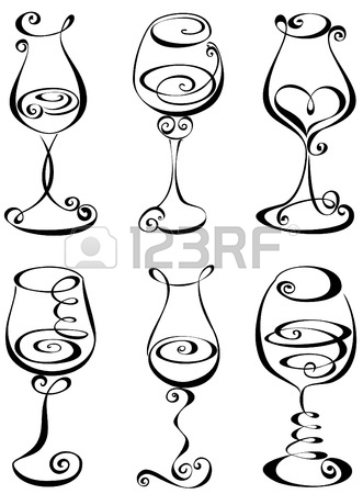 331x450 Stylized Black And White Wine Glass Stock Vector White Wine
