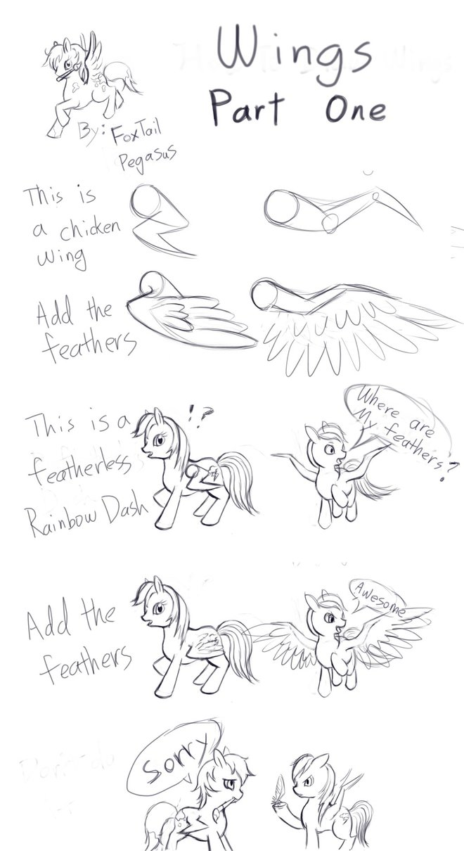 660x1210 Mlp) How To Draw Wings (Part 1) By Foxtailpegasus