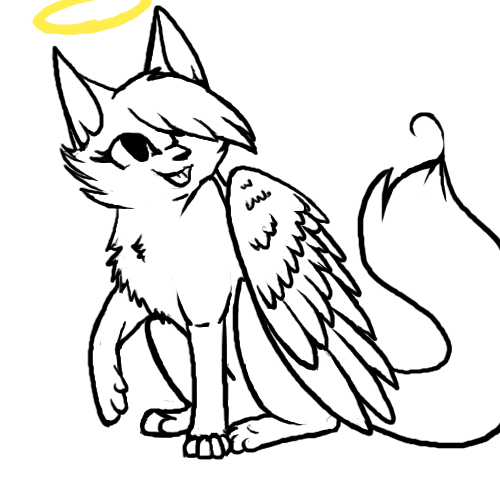 Winged Cat Drawing