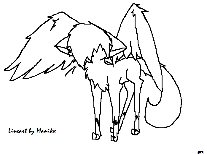 698x521 Fantasy Warrior Cat Lineart With Wings By Manikx
