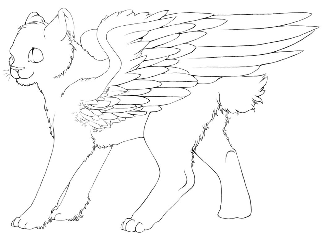 1047x763 Free Winged Cat Lineart By Color Freak1