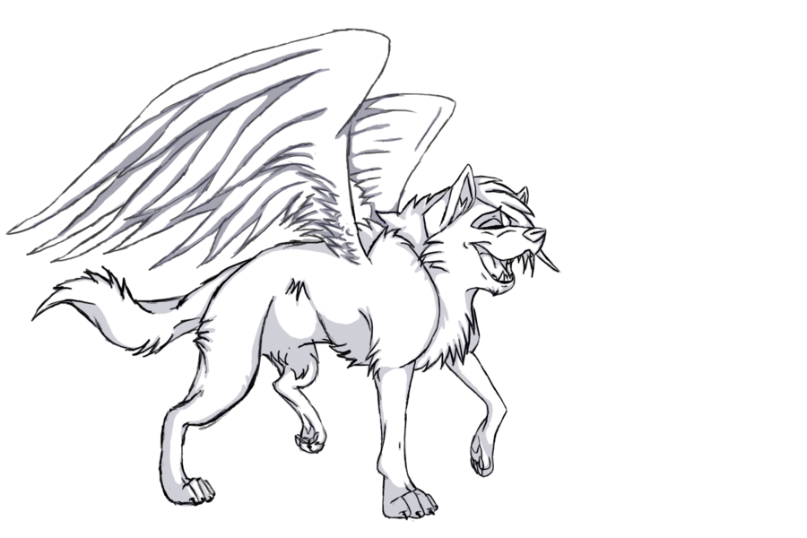 900x600 Free Winged Wolf Lineart By Wolfieluv6