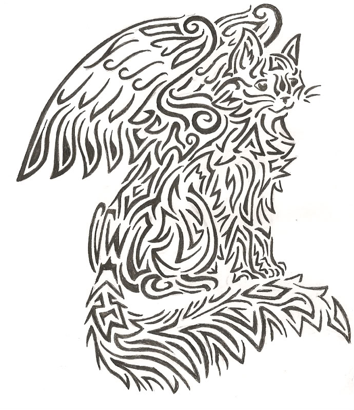 690x798 Tribal Winged Cat By Rijolt
