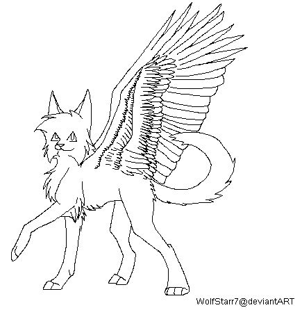 435x446 Winged Cat Lineart (Ms Paint Friendly) By Wolfstarr7