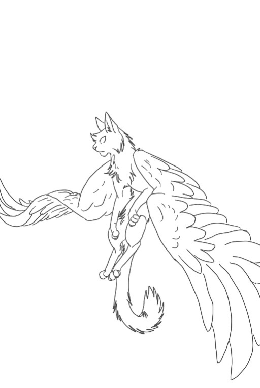 512x762 Winged Cat Lineart By Cheanna