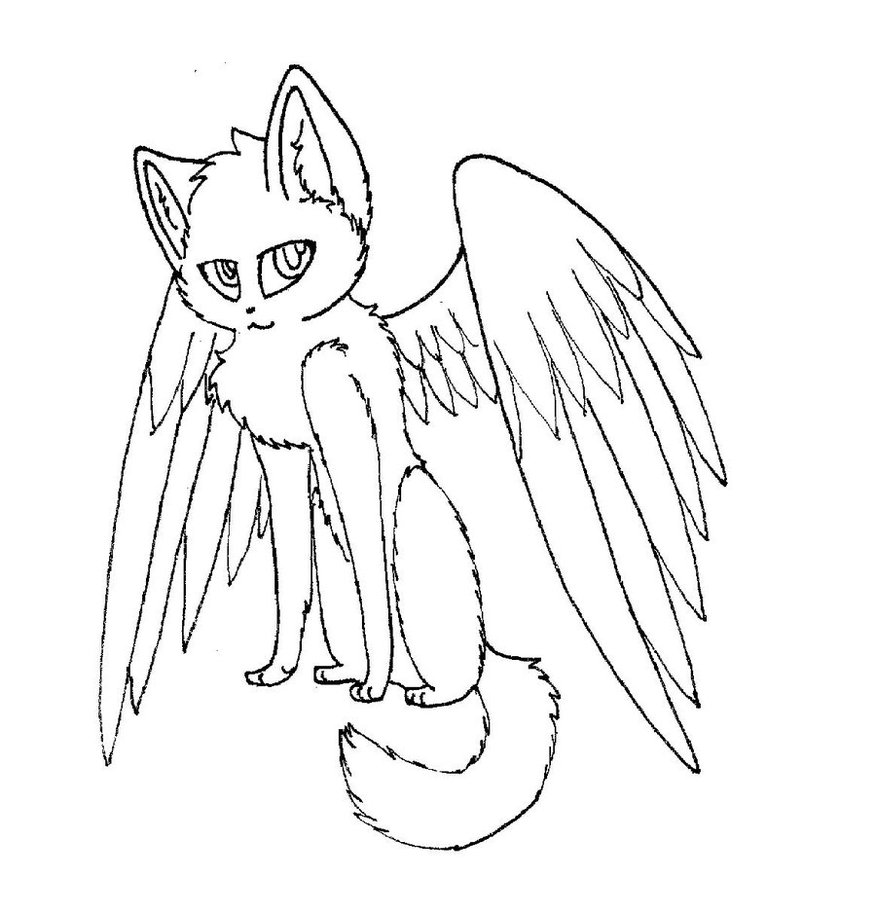 876x912 Winged Cat Lineart By Rahsterrox