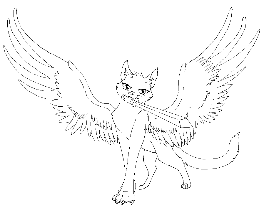 898x706 Winged Cat Lines 2 By Demonickitty244