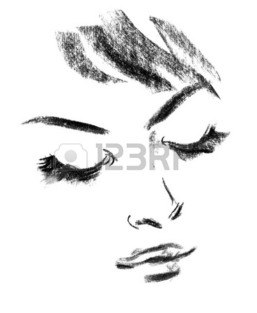 369x450 Girl. Black And White Line Sketch. Winking Woman Stock Photo