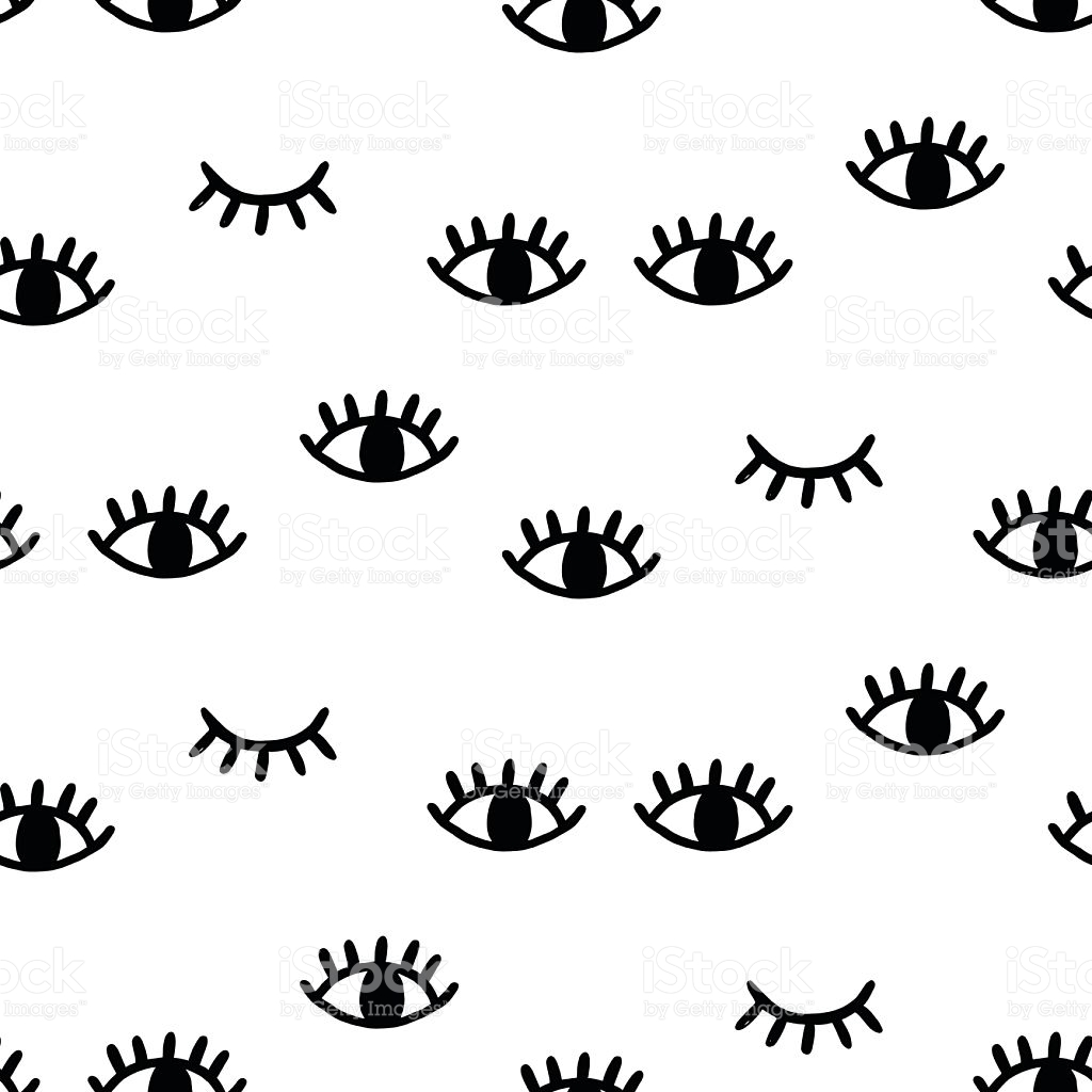 1024x1024 Vector Hand Drawn Seamless Pattern With Open And Winking Eyes