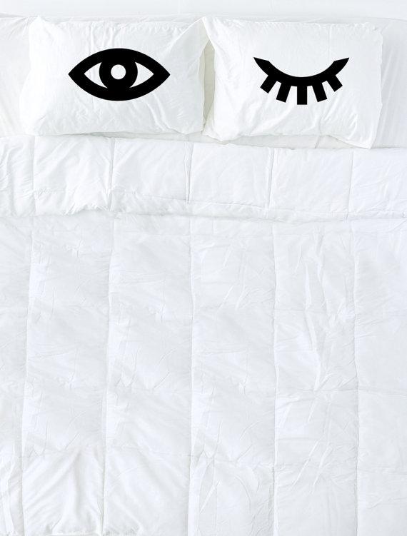 570x751 Winking Eyes Pillowcase Set In Black Eyelash Pillow Novelty