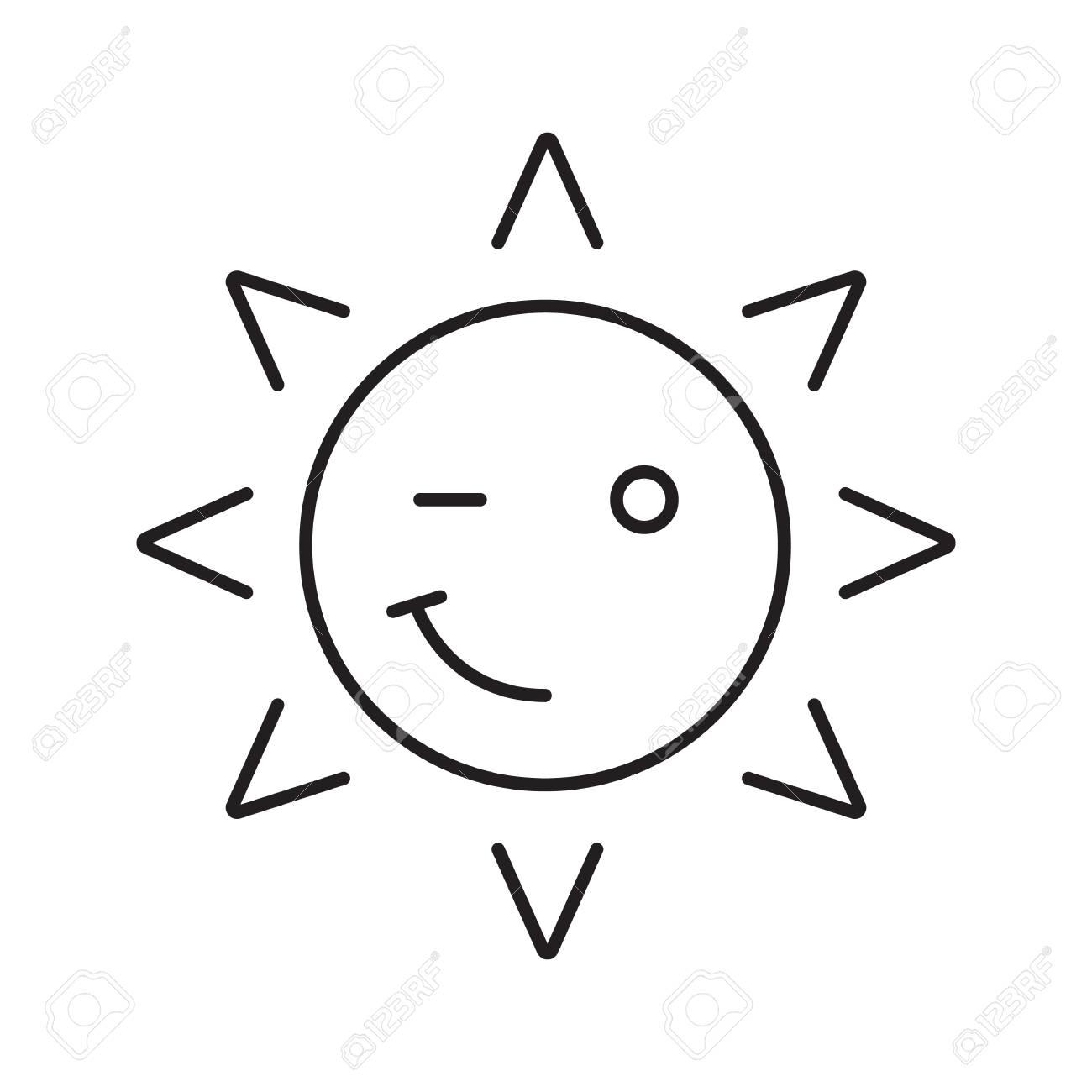 1300x1300 Winking Sun Smile Linear Icon. Good Mood Thin Line Illustration