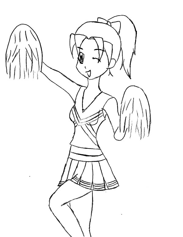 600x776 Cheerleader Winking Her Eye Coloring Pages Best Place To Color