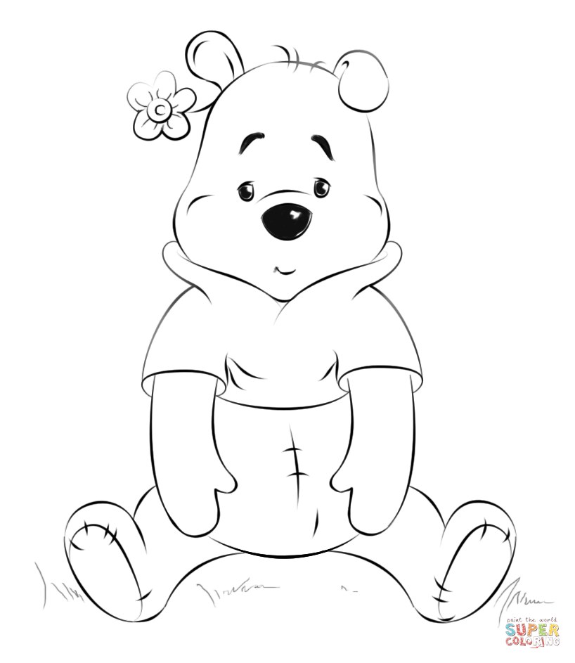 818x943 Winnie The Pooh Sitting Coloring Page Free Printable Pages