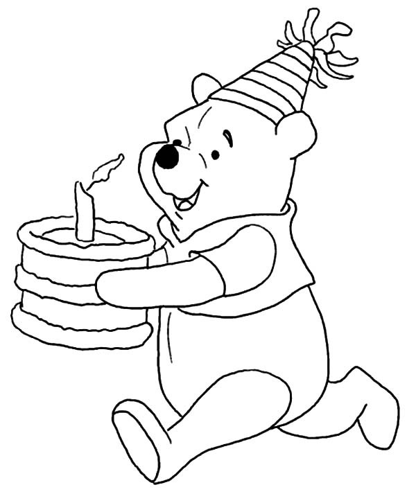 600x713 Disney Winnie The Pooh Running With Birthday Cake Coloring Pages