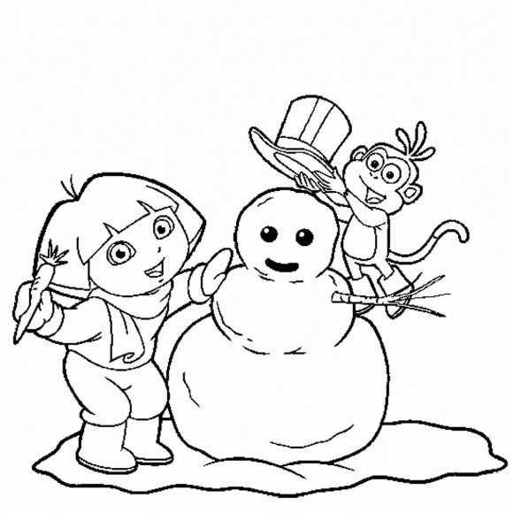 580x580 Dora Winter Boots Coloring Page Christmas Coloring Pages