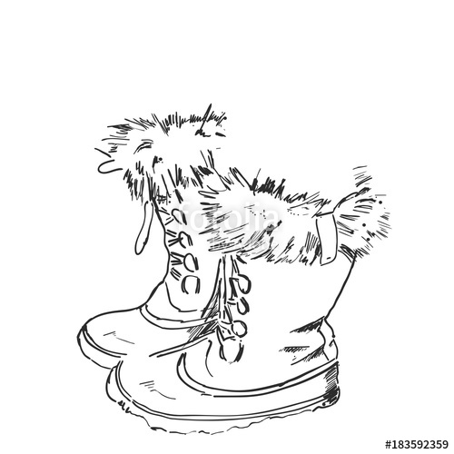 500x500 Hand Drawn Hiking Boots. Winter Shoes Sketch Stock Image