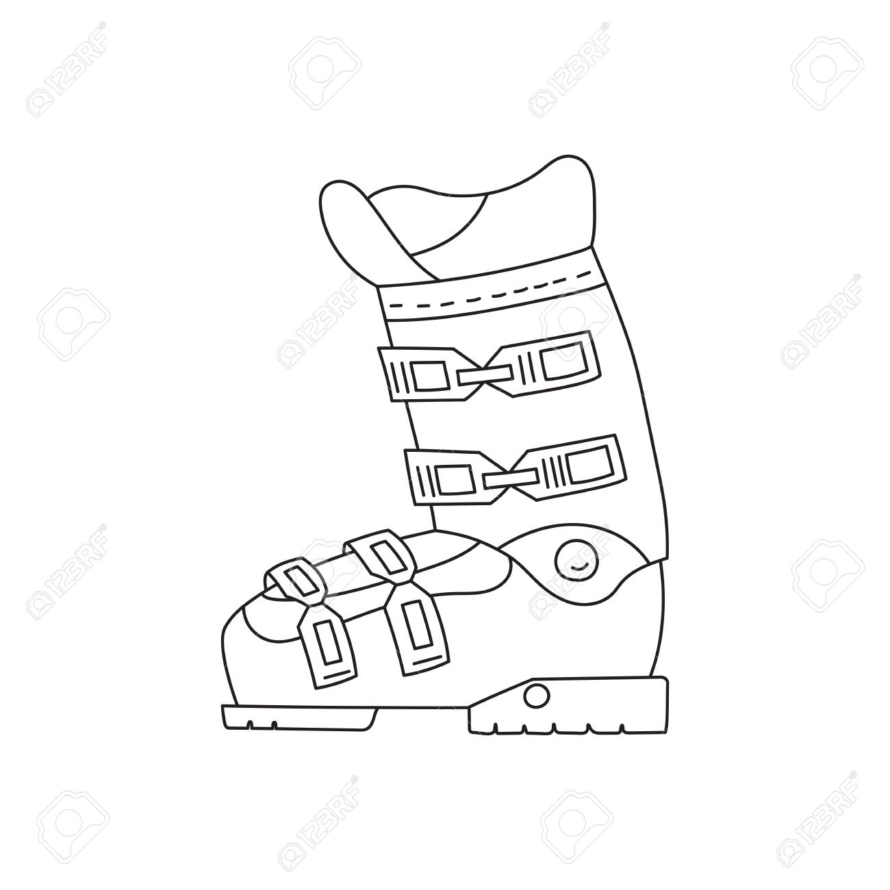 1300x1300 Ski Boots Vector Line Hand Drawn Icon Isolated On White Background