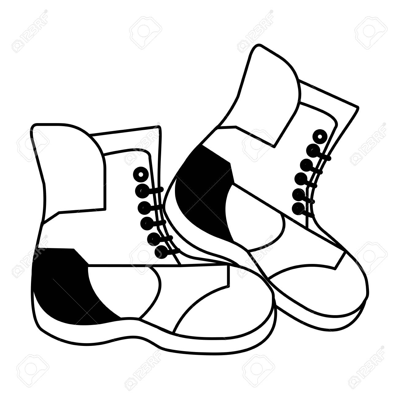 1300x1300 Snow Boots Winter Clothes Icon Image Vector Illustration Design
