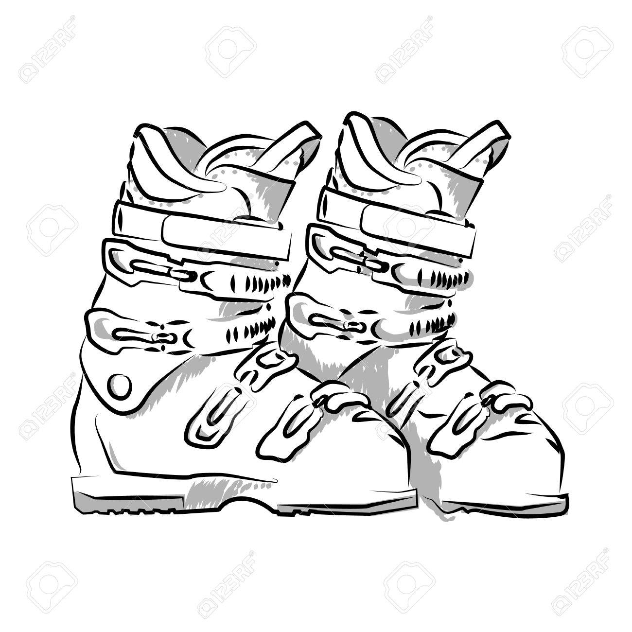 1300x1300 Vector Hand Drawn Icon Winter Objects Ski Boots Royalty Free