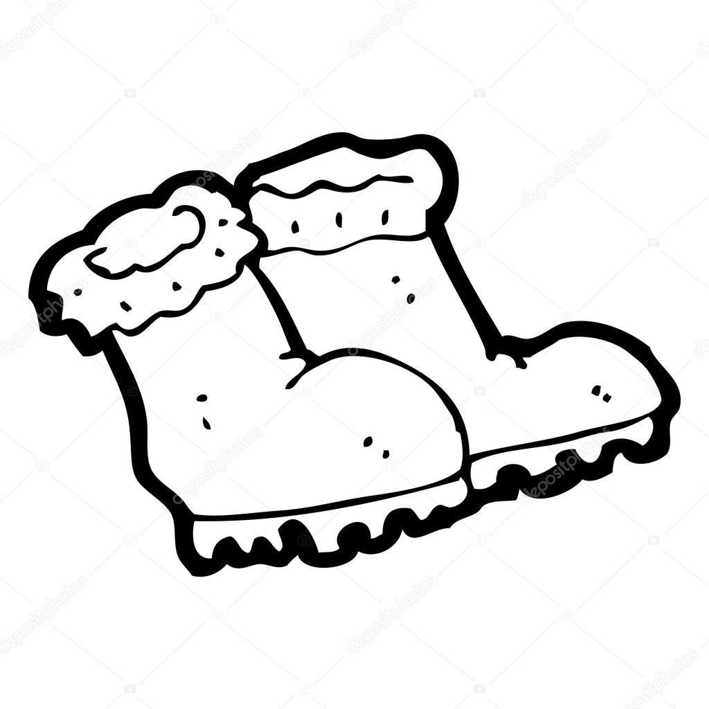 1024x1024 Cartoon Winter Boots Stock Vector Lineartestpilot