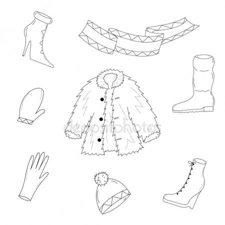 450x450 Hand Drawn Winter Clothes. Sketch Drawn Shoes On High Heel, Scarf